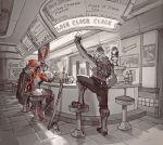 3boys blackwatch_(overwatch) blackwatch_genji blackwatch_mccree blackwatch_reyes bottle brown_hair cape clock cup cyborg d.va_(overwatch) diner genji_(overwatch) hat highres honey_bee_(bancoth) indoors mccree_(overwatch) menu_board multiple_boys overwatch poster_(object) reaper_(overwatch) restaurant route_66_(overwatch) seat sitting spill stool sword tile_floor tiles weapon