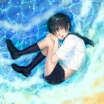 1boy alou androgynous aqua_eyes artist_name beach black_hair blush caustics fetal_position from_above hands_on_own_knee highres knees_together_feet_apart lips loafers looking_at_viewer lying male_focus midriff on_side original parted_lips realistic sailor_collar sand see-through shoes short_sleeves shorts signature socks solo water