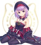 1girl absurdres arm_support bangs bare_shoulders belt black_footwear black_hat black_legwear blush breasts closed_mouth collarbone commentary_request detached_collar detached_sleeves dress eyebrows_visible_through_hair fate/grand_order fate_(series) frilled_skirt frills full_body hair_between_eyes hat helena_blavatsky_(fate/grand_order) highres joker_(tomakin524) layered_skirt looking_at_viewer miniskirt purple_hair shiny shiny_hair shiny_skin short_hair sitting skirt small_breasts smile solo strapless strapless_dress tongue tongue_out violet_eyes
