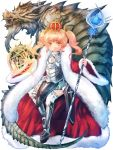1girl armor ayachi_pbw blonde_hair brown_eyes crown dragon eastern_dragon full_body fur_trim greaves holding holding_staff invisible_chair kerberos_blade looking_at_viewer magic_circle official_art red_robe short_twintails sidelocks sitting staff twintails white_legwear wide_sleeves