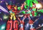 crossover galaxy getter-emperor getter_rays getter_robo getter_robo_g getter_robo_go glowing glowing_eyes handshake highres mecha new_getter_robo no_humans robot shin_getter_robo space spiral_power super_robot tengen_toppa_gurren-lagann_(mecha) tengen_toppa_gurren_lagann type_x weapon yellow_eyes