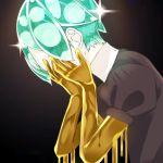 1other androgynous black_background covering_face crystal_hair gem_uniform_(houseki_no_kuni) golden_arms green_hair hands_on_own_face houseki_no_kuni melting phosphophyllite short_hair solo sparkle upper_body