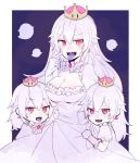 3girls boo breasts cleavage crown dress earrings genderswap genderswap_(mtf) gloves highres higure_ntm jewelry large_breasts long_hair mario_(series) multiple_girls new_super_mario_bros._u_deluxe nintendo personification pink_eyes princess_king_boo purple_tongue sharp_teeth super_crown teeth tongue tongue_out white_hair