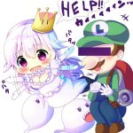 +++ 1boy 1girl afterimage backpack bag bangs blush boo breasts brown_footwear censored chibi chocolat_(momoiro_piano) cleavage commentary_request crown dress elbow_gloves english eyebrows_visible_through_hair flailing flat_cap gloves green_hat green_shirt hair_between_eyes hat identity_censor large_breasts long_hair long_sleeves luigi luigi's_mansion mario_(series) mini_crown new_super_mario_bros._u_deluxe nintendo open_mouth overalls princess_king_boo puffy_short_sleeves puffy_sleeves sharp_teeth shirt short_sleeves silver_hair simple_background squatting sweat tears teeth tilted_headwear translated vacuum_cleaner very_long_hair violet_eyes white_background white_dress white_gloves