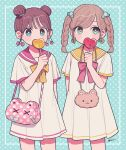 2girls :3 aqua_background aqua_eyes arm_behind_back artist_name bag bandaid bangs bear blue_eyes blush bow braid brown_hair candy cherry cherry_earrings covering_mouth cowboy_shot double_bun dress earrings eyebrows_visible_through_hair food food_themed_earrings fruit hair_bun highres holding holding_candy holding_lollipop jewelry light_brown_hair lollipop long_hair looking_at_viewer looking_to_the_side multiple_girls nokanok orange original polka_dot polka_dot_background red_bow red_sailor_collar sailor_collar short_sleeves shoulder_bag smile twin_braids white_dress yellow_bow yellow_sailor_collar