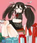 1girl :o barefoot black_eyes black_hair black_skirt blush box commentary_request ebimomo gift hair_ribbon holding horns long_hair original parted_lips pink_background pleated_skirt pointy_ears ribbon simple_background sitting skirt solo stool twintails white_ribbon