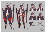 1girl armor bare_shoulders boots cape character_sheet closed_mouth covered_navel gauntlets grey_background hair_ornament hairpin legs_apart leotard long_hair mecha_musume navel original pink_hair ponytail red_eyes sawawse simple_background standing visor_(armor) white_leotard