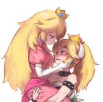 2girls blonde_hair blue_eyes blush bowsette bracelet breasts cleavage collar crown dress fang highres horns hoshi_taiji jewelry long_hair mario_(series) multiple_girls new_super_mario_bros._u_deluxe nintendo person_carrying pink_dress ponytail princess_peach spiked_armlet spiked_bracelet spiked_collar spiked_shell spikes super_crown super_mario_bros. yuri