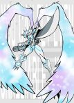 a.k.o.t. absurdres angel_wings arm_blade arm_cannon armor blue_eyes cape commentary digimon digimon_adventure digimon_adventure_tri. glowing helmet highres horns katana no_humans omegamon spikes sword weapon white_wings wings