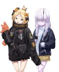 2girls abigail_williams_(fate/grand_order) alternate_costume bangs black_bow black_jacket blonde_hair blue_eyes bow brown_shorts commentary_request cowboy_shot fate/grand_order fate_(series) hair_bow hair_bun head_tilt heroic_spirit_traveling_outfit horn jacket key lavinia_whateley_(fate/grand_order) long_hair long_sleeves looking_at_viewer multiple_girls object_hug open_clothes open_jacket open_mouth orange_bow parted_bangs parted_lips polka_dot polka_dot_bow red_eyes seisei_tamago shirt short_shorts shorts silver_hair simple_background sleeves_past_fingers sleeves_past_wrists standing star stuffed_animal stuffed_toy teddy_bear white_background white_shirt wide-eyed