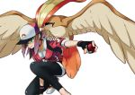 1girl backpack bag baseball_cap beak bird black_gloves black_legwear breasts brown_hair choker claws collarbone commentary_request creatures_(company) cropped_jacket doushimasho feathered_wings female_protagonist_(pokemon_go) fingerless_gloves game_freak gen_1_pokemon gloves hair_over_one_eye hat head_down holding holding_poke_ball jacket jumpsuit leggings long_hair nintendo outstretched_arm pidgeot poke_ball poke_ball_(generic) poke_ball_print pokemon pokemon_(creature) pokemon_go pokemon_on_shoulder ponytail red_choker red_jacket red_jumpsuit serious sidelocks simple_background small_breasts spread_wings squatting white_background wings zipper_pull_tab