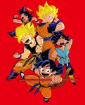 5boys :d ^_^ age_progression annoyed arm_up bitz777 black_eyes black_hair blonde_hair blue_eyes boots clenched_hand clenched_hands closed_eyes closed_eyes dirty dirty_clothes dougi dragon_ball dragon_ball_(classic) dragonball_z fingernails full_body halo hand_on_hip happy jumping looking_away looking_back male_focus multiple_boys multiple_persona nyoibo open_mouth profile red_background running shaded_face short_hair simple_background smile son_gokuu spiky_hair standing super_saiyan sweatdrop tail teeth torn_clothes wristband