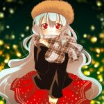 1girl 8i83ash alternate_costume bangs black_sweater blurry blurry_background blush brown_hat commentary_request depth_of_field double_horizontal_stripe eyebrows_visible_through_hair fur_hat grey_scarf hand_up hat iron_maiden_jeanne long_hair long_sleeves looking_at_viewer plaid plaid_scarf red_eyes red_skirt scarf shaman_king sidelocks silver_hair skirt smile solo standing sweater very_long_hair