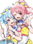 2girls ;d apron arm_around_shoulder bang_dream! bangs bare_shoulders blue_hair blue_neckwear bow bowtie chyoling collared_shirt commentary_request drum drumsticks earrings eyebrows_visible_through_hair frilled_apron frills hair_bow high_ponytail holding holding_drumsticks instrument jewelry looking_at_viewer maruyama_aya matsubara_kanon multiple_girls one_eye_closed open_mouth pink_hair pleated_skirt ponytail round_teeth shirt simple_background skirt sleeveless sleeveless_shirt smile striped striped_bow teeth twitter_username upper_teeth violet_eyes w waist_apron white_apron white_background wrist_cuffs yellow_bow yellow_shirt yellow_skirt
