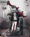 1girl alternate_costume amplifier baggy_clothes bangs belt black_footwear black_jacket black_shorts blush blush_stickers braid brown_eyes buckle character_name clothes_writing dinosaur dinosaur_tail eyebrows_visible_through_hair fake_tail fake_wings full_body g11_(girls_frontline) girls_frontline grey_shirt hair_between_eyes hair_over_shoulder half-closed_eyes hat holding holding_instrument infukun instrument jacket jurassic_park keyboard_(instrument) keychain leather_choker long_hair looking_at_viewer messy_hair multiple_belts nail_polish off_shoulder official_art open_clothes open_mouth parody red_nails rocker-chic shirt shoes short_shorts shorts side_braid sidelocks silver_hair sleeveless sleeveless_shirt sneakers socks solo tail torn_clothes torn_shirt very_long_hair weapon weapon_case wings