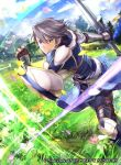 1boy arm_guards armor azur_(fire_emblem) belt black_pants blue_armor blue_coat blue_footwear boots clouds coat collarbone copyright_name day determined earrings fire_emblem fire_emblem:_kakusei fire_emblem_cipher flower grass grey_eyes grey_hair holding holding_sword holding_weapon jewelry knee_boots knee_pads lips male_focus mountain nintendo official_art pants petals running sheath shirt smile solo stud_earrings sunlight sword undershirt vambraces wada_sachiko weapon white_shirt