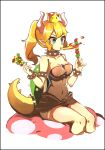 1girl bafang_san_mu_de blonde_hair blue_eyes bowsette bracelet breasts breathing_fire cleavage collar crown dress fire food genderswap genderswap_(mtf) highres horns jewelry kebab koopa_shell large_breasts lizard_tail mario_(series) new_super_mario_bros._u_deluxe nintendo pointy_ears spiked_bracelet spiked_collar spiked_shell spiked_tail spikes super_crown tail