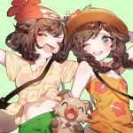 2girls :d ;d ^_^ aqua_background arm_behind_head arm_up arms_up bag bangs beanie blue_eyes blush braid brown_hair closed_eyes closed_eyes creatures_(company) fang floral_print flower game_freak gen_7_pokemon green_shirt hat hat_flower hibiscus long_hair mizuki_(pokemon) multiple_girls navel nintendo one_eye_closed open_mouth outstretched_arms pokemon pokemon_(creature) pokemon_(game) pokemon_sm pokemon_usum print_shirt red_flower red_hat ribbon rockruff shirt short_shorts short_sleeves shorts shoulder_bag simple_background smile strapless sun_hat swept_bangs tied_skirt twin_braids upper_body upper_teeth yellow_ribbon yellow_shirt zuizi