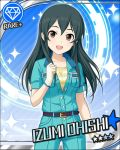 black_hair blush brown_eyes character_name dress idolmaster idolmaster_cinderella_girls long_hair ohishi_izumi smile stars