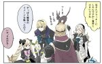 2boys 2girls animal animal_on_head armor black_armor black_bow blonde_hair bow brother_and_sister brothers cape circlet closed_mouth creatures_(company) dress eevee elise_(fire_emblem_if) female_my_unit_(fire_emblem_if) fire_emblem fire_emblem_if from_behind game_freak gen_1_pokemon gen_2_pokemon gen_4_pokemon hair_bow hairband leafeon leon_(fire_emblem_if) long_hair marks_(fire_emblem_if) multicolored_hair multiple_boys multiple_girls my_unit_(fire_emblem_if) nintendo on_head open_mouth parted_lips pink_bow pokemon pokemon_(creature) purple_hair robaco short_hair siblings simple_background smile translation_request twintails umbreon vaporeon violet_eyes white_background white_hair