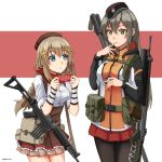 2girls :o :t assault_rifle bangs belt belt_pouch beret black_legwear blue_eyes braid breasts chinese_commentary chocolate chocolate_bar commentary_request cowboy_shot eating eyebrows_visible_through_hair fn_fnc fn_fnc_(girls_frontline) food food_on_face frilled_skirt frills garrison_cap girls_frontline green_eyes grey_hair gun hair_between_eyes hair_ornament hat highres holding holding_food jacket light_brown_hair long_hair long_sleeves looking_at_another looking_at_viewer medium_breasts multiple_girls ndtwofives original over_shoulder pantyhose pleated_skirt pouch red_skirt rifle sig_550 single_braid skirt standing swiss_flag trekking_pole two-tone_background weapon weapon_over_shoulder