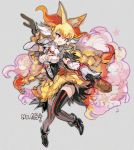 1girl animal_ears ankle_boots black_legwear blonde_hair boots bracelet braid braixen breasts bubble_skirt commentary_request corset creatures_(company) elbow_gloves fang fox_ears fox_tail full_body game_freak gen_6_pokemon gloves high_heel_boots high_heels jewelry kantarou_(8kan) long_hair medium_breasts multicolored_hair necklace nintendo open_mouth pearl_necklace personification pokemon red_eyes skirt solo staff striped striped_legwear tail thigh-highs twin_braids two-tone_hair very_long_hair white_gloves white_hair