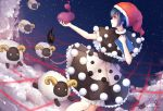 1girl absurdres blue_eyes blue_hair capelet clouds commentary_request doremy_sweet dream_soul dress fur_trim hat highres hoshiringo0902 nightcap parted_lips partial_commentary pom_pom_(clothes) profile red_hat sheep solo star_(sky) tail touhou