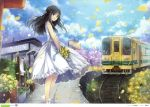 1girl :d absurdres black_eyes black_hair bouquet clouds copyright_request day dress flower ground_vehicle hagiwara_rin hair_ribbon half_updo highres huge_filesize long_hair open_mouth petals railroad_tracks ribbon scan shoes sky smile solo sundress train