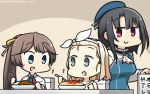 +++ 3girls :d adapted_costume apron beret black_hair blonde_hair blue_apron blue_eyes blue_hat blush brown_eyes brown_hair collarbone commentary_request curry dated food hairband hamu_koutarou hat highres holding holding_spoon i-504_(kantai_collection) kantai_collection kazagumo_(kantai_collection) long_hair luigi_torelli_(kantai_collection) multiple_girls open_mouth pasta ponytail red_eyes short_hair smile spoon takao_(kantai_collection) white_hairband