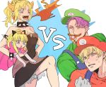 2boys 2girls ahoge artoria_pendragon_(all) black_dress blonde_hair bowsette bowsette_(cosplay) bracelet collar commentary_request cosplay crown dress fate/grand_order fate_(series) gawain_(fate/grand_order) hair_ribbon highres horns jewelry lancelot_(fate/grand_order) luigi luigi_(cosplay) mario mario_(cosplay) mario_(series) matimatio mordred_(fate) mordred_(fate)_(all) multiple_boys multiple_girls mushroom new_super_mario_bros._u_deluxe nintendo pink_dress ponytail princess_peach princess_peach_(cosplay) purple_hair ribbon saber saber_lily sharp_teeth spiked_bracelet spiked_collar spikes super_mario_bros. teeth violet_eyes