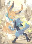 bandanna blue_eyes clothed_pokemon commentary_request creatures_(company) crying dot_nose eevee game_freak gen_1_pokemon gen_4_pokemon hideko_(l33l3b) highres looking_at_another nintendo open_mouth pokemon pokemon_(creature) riolu rock standing tears