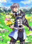 1boy arm_guards armor azur_(fire_emblem) belt black_pants blue_armor blue_coat blue_footwear boots bouquet clouds coat collarbone copyright_name day determined earrings fire_emblem fire_emblem:_kakusei fire_emblem_cipher flower grass grey_eyes grey_hair holding holding_sword holding_weapon jewelry knee_boots knee_pads lips looking_at_viewer male_focus mountain nintendo official_art open_mouth pants petals sheath shirt smile solo standing stud_earrings sunlight sword undershirt vambraces wada_sachiko weapon white_shirt