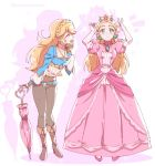 2girls blonde_hair braid cosplay costume_switch crown dress gloves green_eyes jewelry long_hair mario_(series) multiple_girls nintendo pants pink_dress pointy_ears princess_peach princess_peach_(cosplay) princess_zelda shuri_(84k) smile super_mario_bros. super_smash_bros. the_legend_of_zelda the_legend_of_zelda:_breath_of_the_wild umbrella