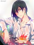 1boy artist_name black_hair blue_eyes calcifer collared_shirt gearous howl_(howl_no_ugoku_shiro) howl_no_ugoku_shiro jewelry male_focus necklace partially_submerged ring shirt single_earring smile star water