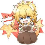 1girl :d black_dress blonde_hair blue_eyes bowsette bracelet chibi claw_pose collar dress eyebrows_visible_through_hair hair_between_eyes horns jewelry lowres mario_(series) nail_polish new_super_mario_bros._u_deluxe nintendo open_mouth ponytail satou_(shiny_sugar87) shell smile solo speech_bubble spiked_armlet spiked_bracelet spiked_collar spiked_tail spikes strapless strapless_dress super_crown thick_eyebrows v-shaped_eyebrows