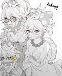 3girls :d bangs bow bracelet breasts chinako_(pixiv) cleavage collar collarbone crossed_arms crown earrings eyebrows_visible_through_hair fang fingernails genderswap genderswap_(mtf) glasses hair_between_eyes hair_bow iggy_koopa jewelry koopalings lemmy_koopa lips long_fingernails looking_at_viewer mario_(series) medium_breasts multiple_girls necklace new_super_mario_bros._u_deluxe nintendo open_mouth polka_dot polka_dot_bow ponytail round_eyewear smile spiked spiked_bracelet spiked_collar spikes super_crown super_mario_bros. turtle_shell v-shaped_eyebrows wendy_o._koopa