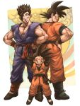 3boys arms_behind_head arms_up black_hair brothers closed_eyes dougi dragon_ball dragonball_z father_and_son full_body grin hand_on_hip happy height_difference highres long_sleeves looking_back looking_down makumaku male_focus multiple_boys short_hair siblings sleeveless smile son_gohan son_gokuu son_goten spiky_hair standing wristband