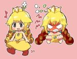 1girl :d anger_vein angry bangs bare_arms bare_shoulders blonde_hair blush brooch chibi clenched_hands clenched_teeth crown dress earrings flat_chest flower grey_eyes highres jewelry long_hair mario_(series) motion_lines musical_note new_super_mario_bros._u_deluxe nintendo no_nose open_mouth outline pink_background red_footwear sanzui smile solo strapless strapless_dress super_crown super_mario_bros. teeth twintails walking white_flower white_outline wiggler yellow_dress
