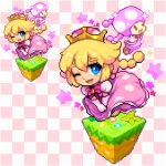 1girl blonde_hair blue_eyes blush braid chibi commentary_request dress earrings elbow_gloves eyebrows gloves grass hair_between_eyes happy jewelry looking_at_viewer lowres mario_(series) new_super_mario_bros._u_deluxe nintendo one_eye_closed patterned_background peachette pink_dress pink_earrings pink_gloves pink_hair pixel_art puffy_short_sleeves puffy_sleeves reflective_eyes shiny shiny_hair shirosu short_hair short_sleeves sidelocks skirt_hold smile solo sparkle super_crown toadette twin_braids