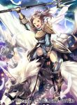 3girls armor bangs breastplate clouds cloudy_sky commentary_request company_name copyright_name cynthia_(fire_emblem) dress feathers fingerless_gloves fire_emblem fire_emblem:_kakusei fire_emblem_cipher gloves green_eyes grey_hair holding holding_weapon horn long_hair long_sleeves looking_at_viewer multiple_girls nagahama_megumi nintendo official_art open_mouth outdoors parted_bangs pegasus pegasus_knight polearm shiny shiny_hair sky smile spear weapon