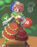 1girl :d artist_request bangs bowyer breasts bright_pupils cleavage cross_eyed crown dress earrings elbow_gloves frilled_dress frills genderswap genderswap_(mtf) gloves hair_between_eyes high_heels horizontal_stripes jewelry mario_(series) medium_breasts multicolored multicolored_clothes multicolored_dress new_super_mario_bros._u_deluxe nintendo open_mouth orange_eyes orange_hair pantyhose ponytail sharp_teeth shoes smile solo striped striped_legwear super_crown super_mario_bros. super_mario_rpg teeth white_footwear white_gloves white_pupils