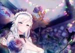 1girl azur_lane bangs belfast_(azur_lane) blue_eyes blurry blush braid breasts chains cleavage clouds cloudy_sky collar collarbone depth_of_field dress evening eyebrows_visible_through_hair flower french_braid frills gloves hand_up large_breasts light_particles lights long_hair looking_at_viewer maid maid_headdress outdoors signature silver_hair sky smile solo tsunano_(koi_pink) white_gloves