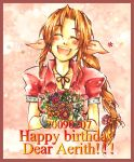 1girl aerith_gainsborough bow braid brown_hair commentary_request cropped_jacket dress final_fantasy final_fantasy_vii hair_ribbon long_hair pink_bow ribbon single_braid smile solo traditional_media watercolor_pencil_(medium)
