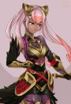 1girl belt breasts cleavage closed_mouth dark_skin feather_trim fire_emblem fire_emblem_heroes gauntlets geazs gloves gradient_hair hair_ornament highres laevateinn_(fire_emblem_heroes) long_hair medium_breasts multicolored_hair nintendo pink_hair red_eyes simple_background solo twintails