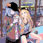 2girls abigail_williams_(fate/grand_order) backwards_hat bangs baseball_cap black_hat blonde_hair blue_eyes bow bracelet car fate/grand_order fate_(series) food forehead ground_vehicle hat hat_bow holding holding_food horn ice_cream jacket jewelry key_necklace kiriyama lavinia_whateley_(fate/grand_order) long_hair long_sleeves looking_at_another motor_vehicle multiple_girls necklace open_mouth orange_bow parted_bangs pink_eyes shirt silver_hair sitting skirt skull_print spread_legs star umbrella wavy_mouth wide-eyed window