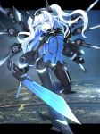 1girl absurdres armored_boots black_heart blue_eyes boots breasts eyebrows_visible_through_hair gauntlets hair_between_eyes headgear highres holding holding_weapon long_hair medium_breasts neptune_(series) next_black open_mouth ramu-on@_shinon shin_jigen_game_neptune_vii solo sword symbol-shaped_pupils visor weapon white_hair