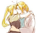 1boy 1girl antenna_hair arms_around_neck bangs blonde_hair blush couple edward_elric eyebrows_visible_through_hair fingernails floating_hair fullmetal_alchemist hand_on_another's_hip heart hetero hug kiss long_hair ponytail simple_background tsukuda0310 upper_body white_background winry_rockbell