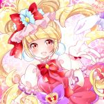 1girl :d aisaki_emiru blonde_hair bow bowtie cure_macherie dress earrings eyelashes frills gloves hair_bow hugtto!_precure jewelry kawanobe long_hair looking_at_viewer magical_girl no_nose open_mouth precure puffy_sleeves purple_bow red_bow red_dress red_eyes smile solo_focus twintails upper_body white_gloves