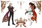2boys blonde_hair brown_eyes brown_hair cape curly_hair european_clothes fajyobore323 fire_emblem fire_emblem_if formal long_hair looking_at_viewer marks_(fire_emblem_if) multiple_boys nintendo pauldrons red_eyes ryouma_(fire_emblem_if) smile spiky_hair suit sword weapon