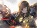 1girl backlighting bangs beige_shirt black_gloves black_jacket black_neckwear braid breasts brown_hair capura_lin closed_mouth commentary_request ear_protection eyebrows_visible_through_hair eyepatch girls_frontline gloves head_tilt highres holding jacket long_hair m16a1_(girls_frontline) medium_breasts necktie open_clothes open_jacket over_shoulder shirt single_braid smile solo very_long_hair yellow_eyes